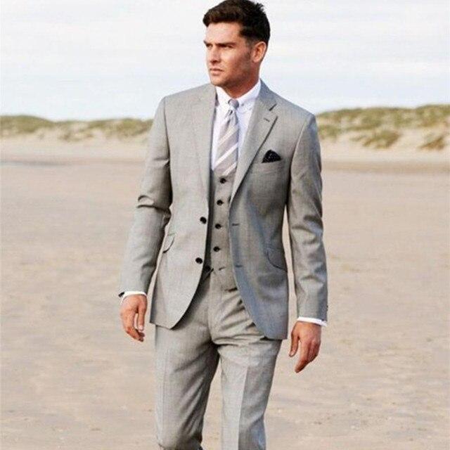 Business 2017 Grey Groom Tuxedos Slim Formal Wedding Party Evening Men Suits Groomsman Suit