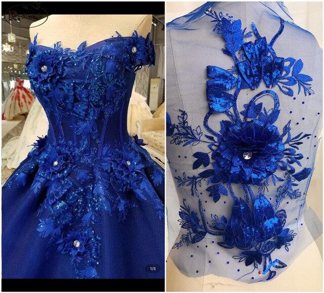 בעבודת יד חרוזים 3D חתונת שמלת Applique DIY כלה כיסוי ראש שנהב לבן תחרה צווארון תחרה בד תיקון RS1663