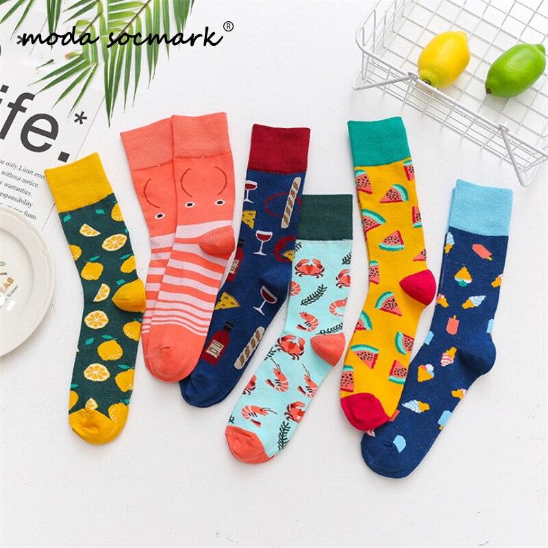 Moda Socmark 2019 New Happy Socks Men/Women Funny Ice Cream Creative Socks Fashion Long Couple Sock Brand Casual Skateboard Sock