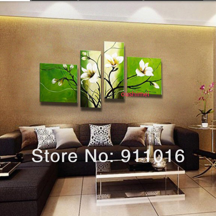 Handpainted 4 piece modern decorative oil painting canvas for Modern home decor gifts