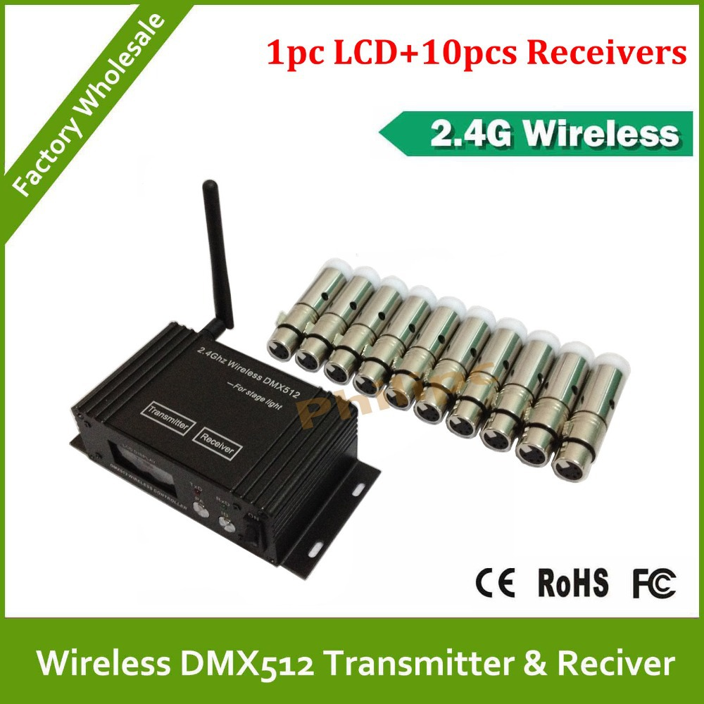 Best quality!! 11PCS/LOT 2.4G wireless DMX 512 transmitter receiver signal stability led dmx controller disco lights dmx 2 pcs lot transceiver dmx 512 control wireless transmitter