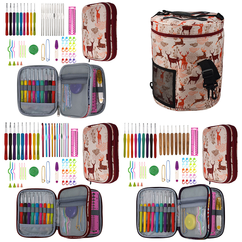 Sika Deer Looen Crochet Hooks Set With Empty Yarn Storage Bag Sewing Tools Knitting Needles DIY Needle Arts Craft With Case