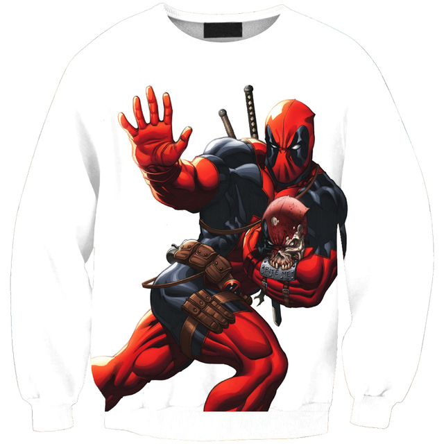Anti Samely Fashion Men Sweatshirt 3D Deadpool Print Simple Casual White Relaxtion Oversized Clothes Free