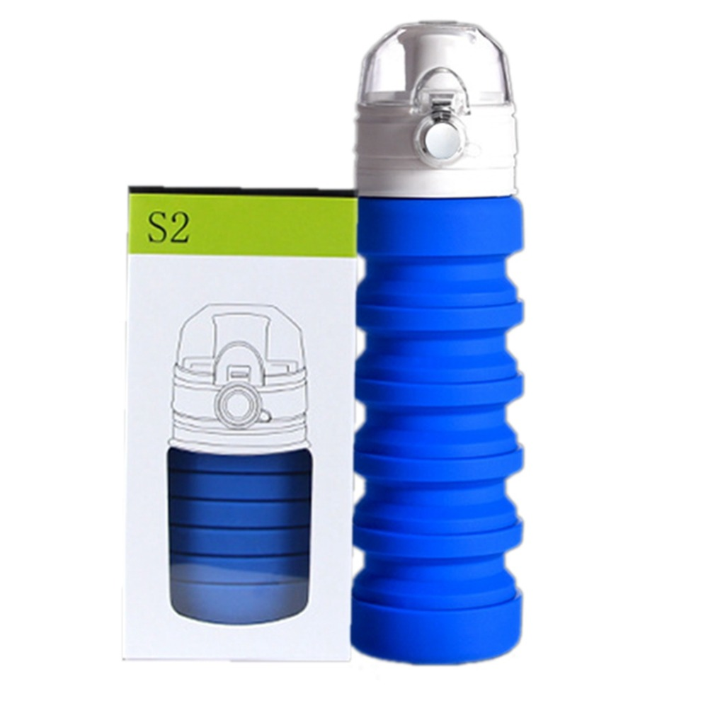 500ML Foldable multi functional thermos bottle Telescopic cup environmental protection water cup Silicone folding water bottle