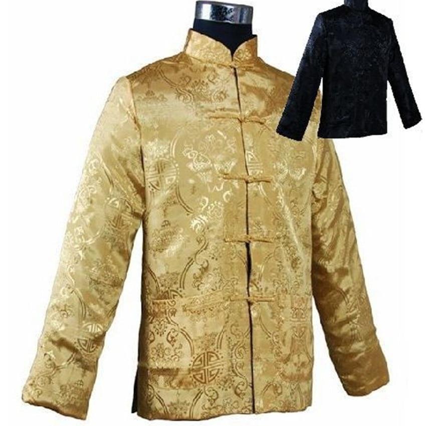 Noir Or Réversible Chinois En Satin de Soie des Hommes Deux-Face Veste  Manteau avec poche Taille S M L XL XXL XXXL Livraison Gratuite M1040 1d4f27108e4