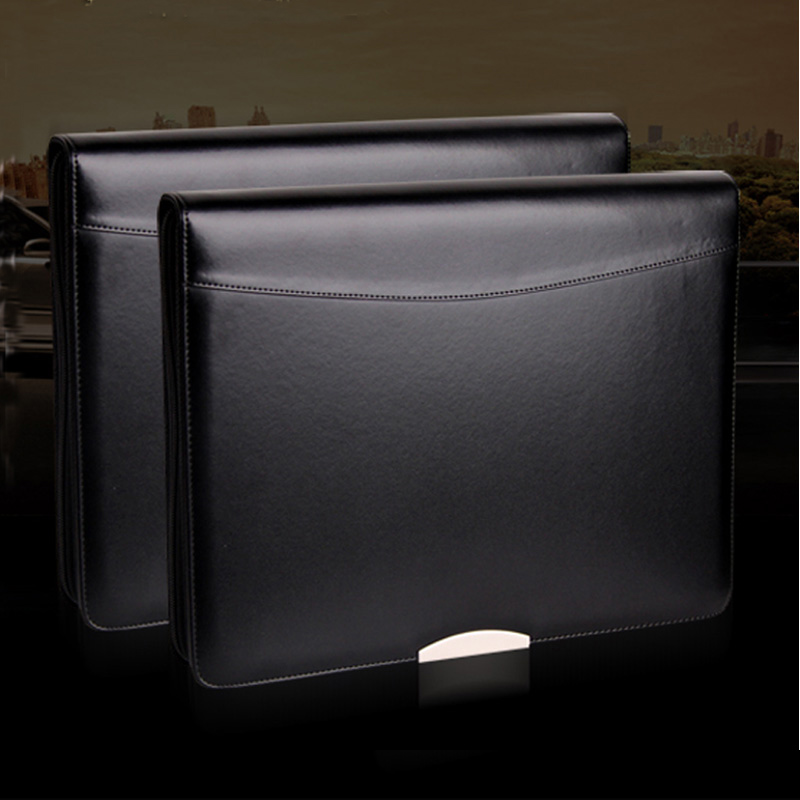 A4 Leather File Folder Zipper Portfolio Briefcase A4 Padfolio Business Manager Bag Ring Binder With Metal Decorative Sheet 448A