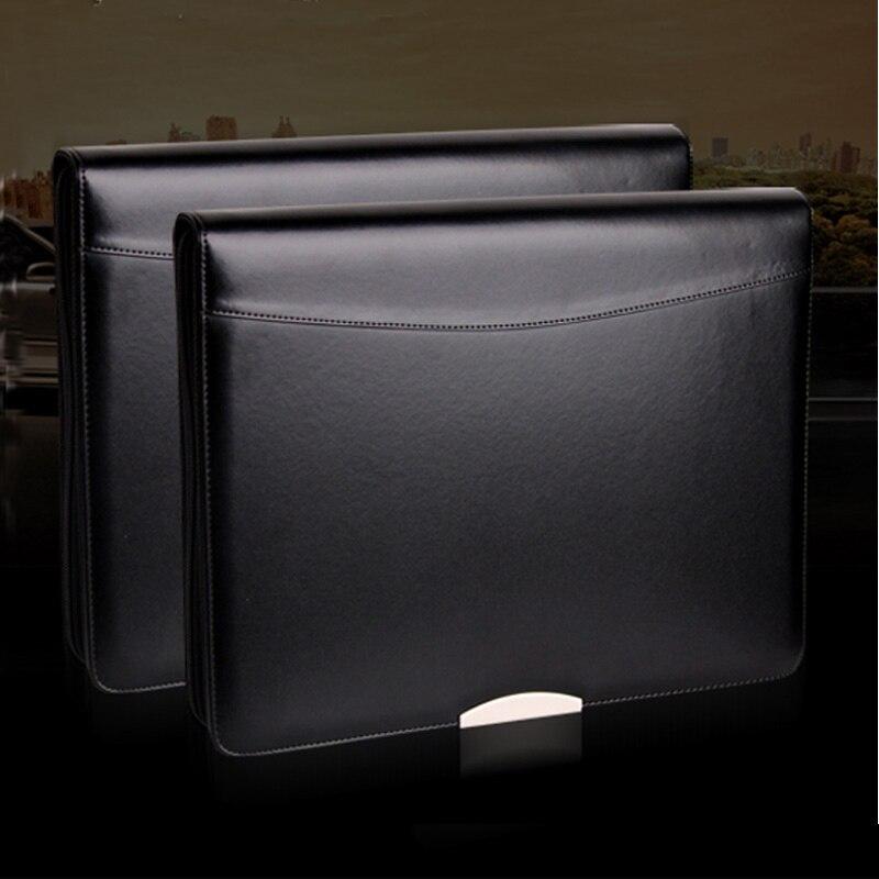 A4 dossier en cuir fermeture à glissière portefeuille porte-documents A4 padfolio directeur commercial sac reliure à anneaux avec feuille décorative en métal 448A