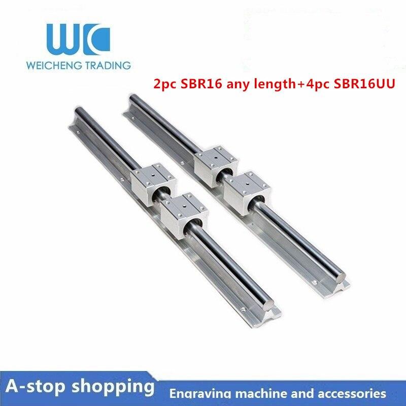 2pc SBR16 largeur 16mm rail linéaire toute longueur support rail de guidage rond + 4pcs SBR16UU bloc coulissant pour pièces de CNC