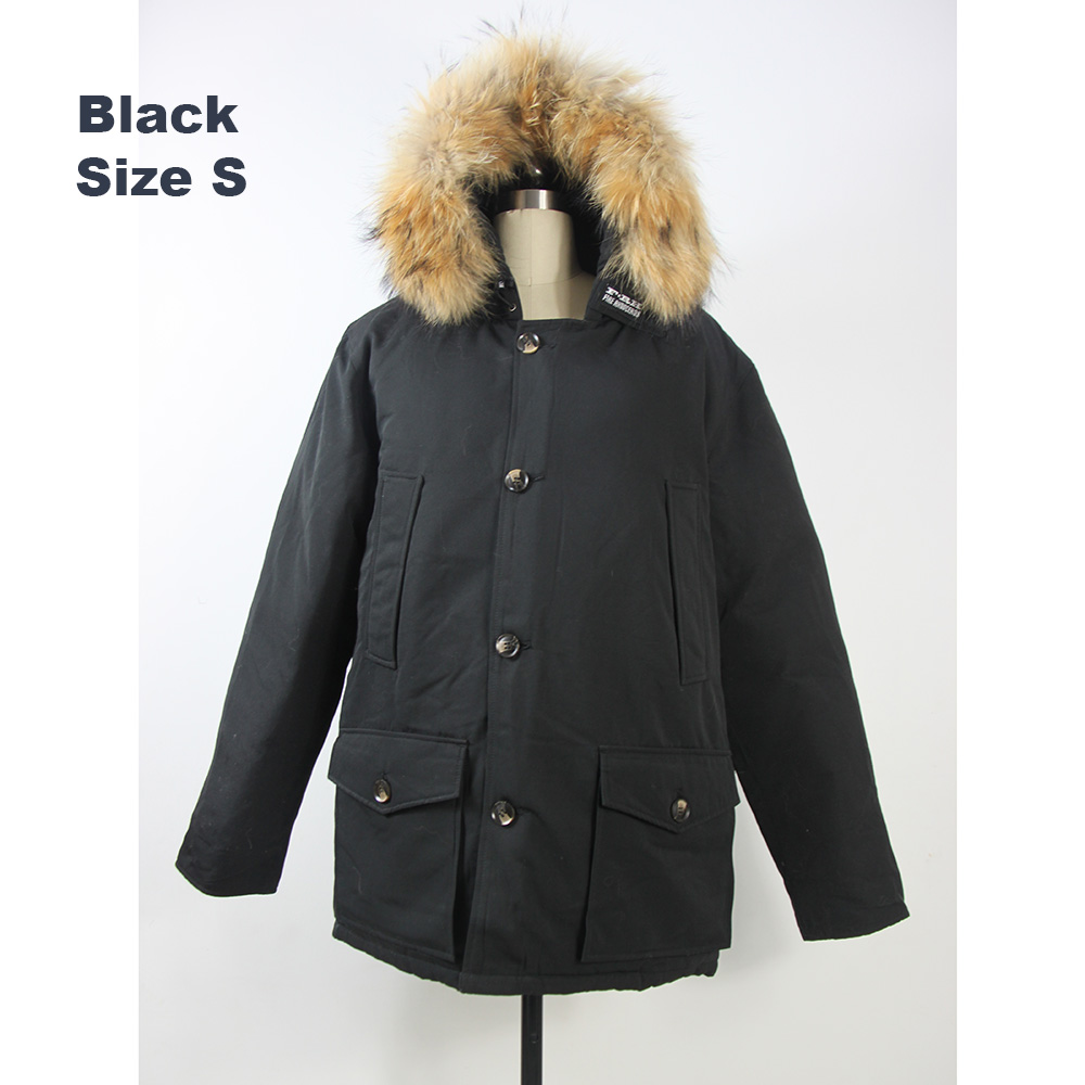 2018 Brand New Mens White Duck Down thick Winter Arctic Down PARKA with removable real raccoon fur