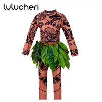 Movie Moana Maui Cosplay Costume Cartoon Full Sets For Men Adults Halloween Party Bodysuit Funny Vaiana Maui Outfit Role Playing