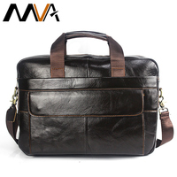 MVA Laptop Bag Men Briefcase Business Travel Briefcase Handbag Messenger Shoulder Laptop Bags Genuine Leather Bag