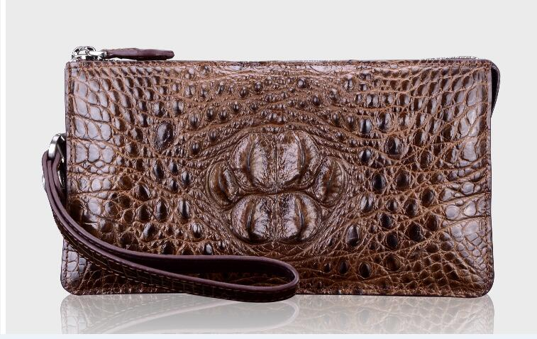 100% genuine crocodile leather wallets and purse alligator skin wallets men clutch alligator skin black brown color money holder
