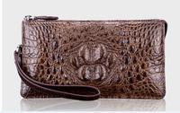 100% genuine crocodile leather wallets and purse alligator skin wallets men clutch alligator skin black brown color money holder