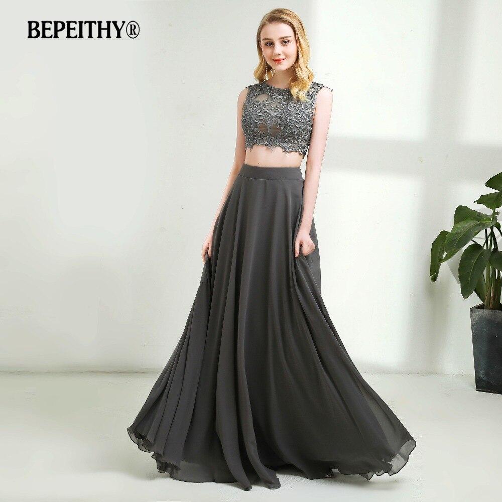 Sexy Two Pieces Long Prom Dresses Gray Chiffon Vestido De Festa Floor Length Lace Top Beading