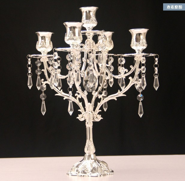 2016 New year Romantic Crystal Candle Holder Crystal Silver Candlesticks stand for Wedding birthday party decorations