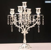 New year Romantic Crystal Candle Holder Crystal Silver Candlesticks stand for Wedding birthday party decorations