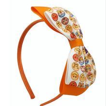 100pcs lot Emoji Hair Bow 5 inch Hair Bow Printed Boutique Bow Emoji Bow