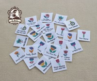 96 Custom Logo Labels Children S Clothing Tags Name Tags White Organic Cotton Labels Cute Flowers
