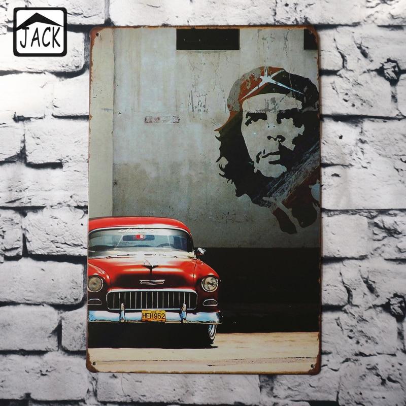 Retro Red Car Wall Decor 2030cm Metal Plaques Gallery Coffee Shop