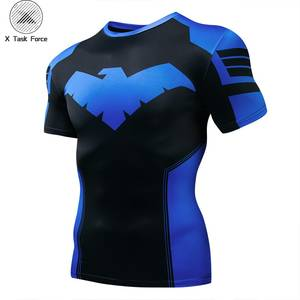 New Summer Marvel Superhero T-Shirt 3D SupermanSpidermanBatmanBlack Panther Men T Shirt Short Sleeve Compression Tee