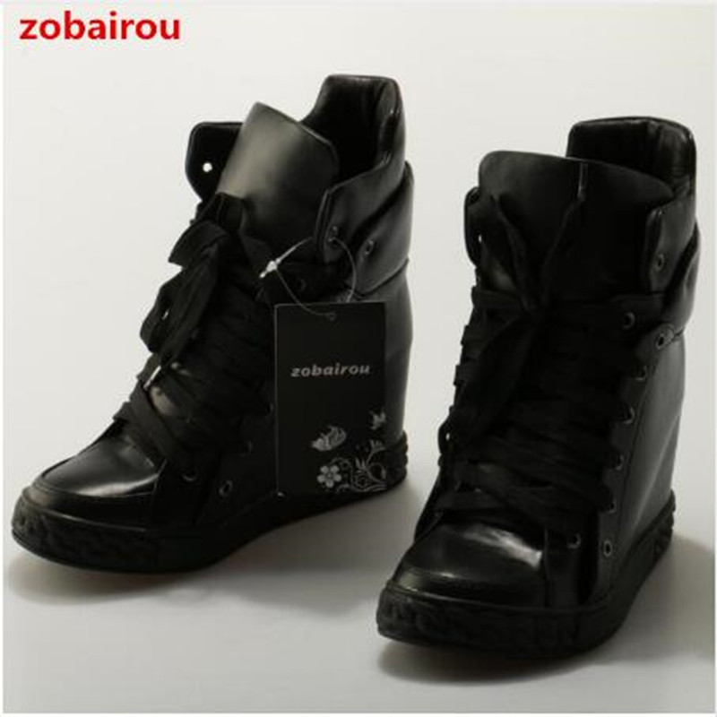 Zobairou black leather ankle boots for women high top platform espadrilles height increasing rain boots causal shoes sneakers