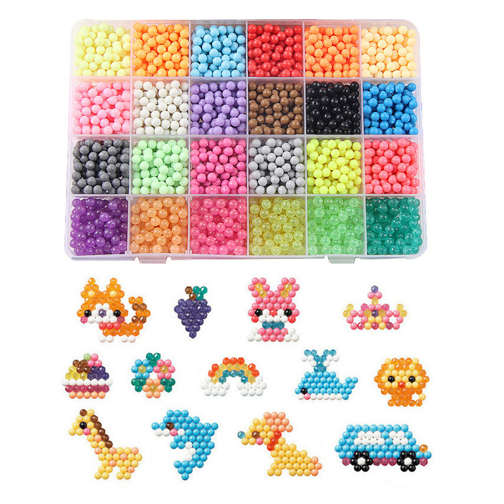 Multicolor Puzzle Beads Water Sticky Toys DIY Art Craft Animal Handmade Sticky Beads Educational Toys Kids Good Gifts
