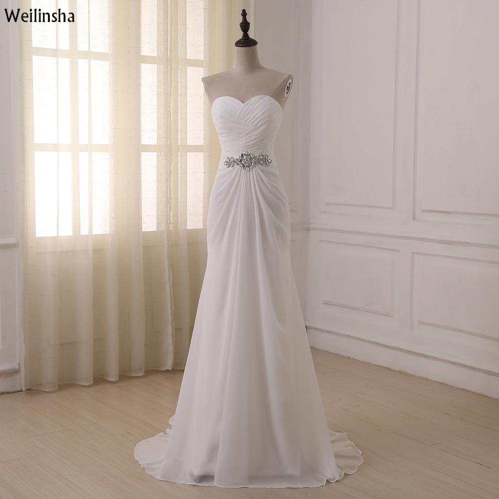 Weilinsha 2017 in stock plus size wedding dress white for Wedding dress in stock
