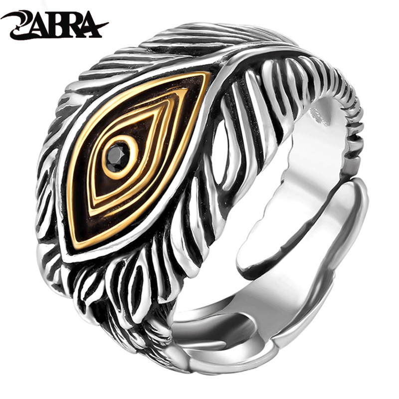 ZABRA 925 Sterling Silver Adjustable Opening Retro Style Male Cool Ring 100% Real Pure Silver Man Jewelry Vintage Eye God Rings
