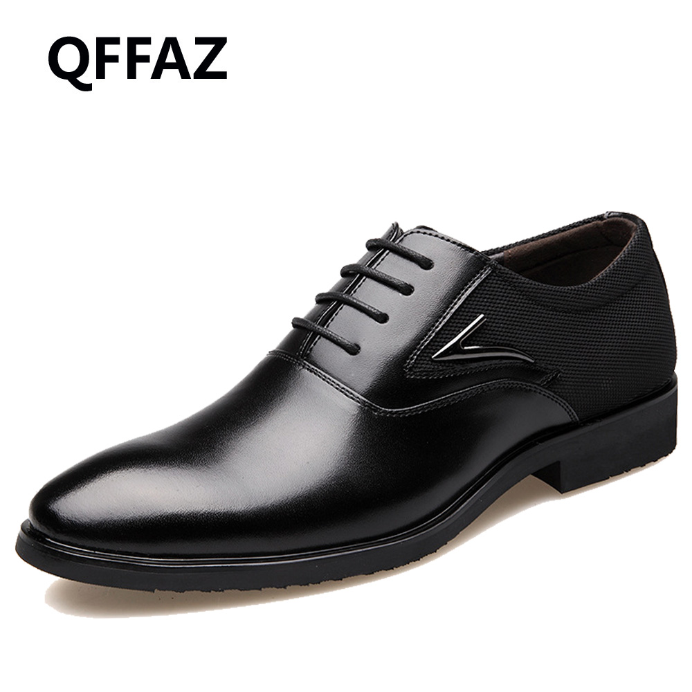 QFFAZ men shoes high quality genuine leather pointed toe dress shoes
