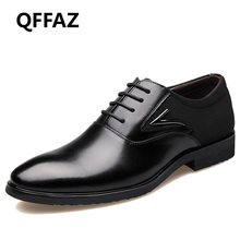 QFFAZ men shoes high quality genuine leather pointed toe dress shoes male formal zapatos hombre oxfords shoes men