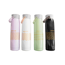 Geometric Pattern Stainless Steel Double Layer Mug Travel Water Thermos Vacuum Cup School Home Tea Coffee Beverage Bottle