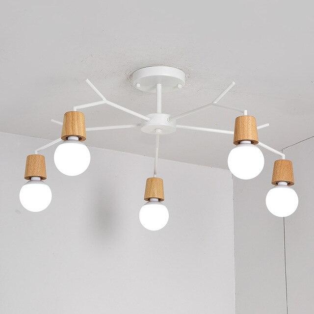 E27 Wood LED Ceiling Lights Living Room Bedroom Modern Ceiling Lamp Modern Lustres De Sala Plafon luminarie lights 3/5/8 Light