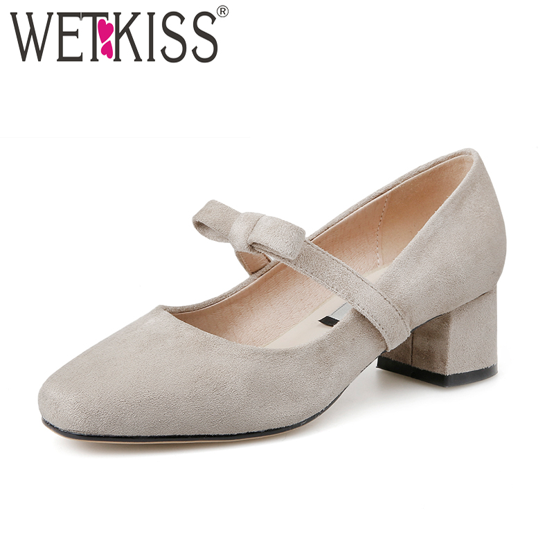 цены WETKISS New Spring Women Pumps Square Toe Med Heels Butterfly Knot Flock Footwear 2018 Brand Sweet Ladies Dress Shoes Big Size