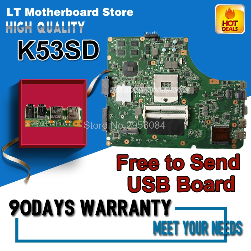 For Asus K53SD REV 5.1 laptop motherboard 60-N3EMB1300-025 N13M-GE1-S-A1 HM65 Work well Graphics DDR3 VRAM 100% tested S-4 pcm 3866 isa1 rev a1 03 1 pn1906386623 power board fittings of a machine tested well original