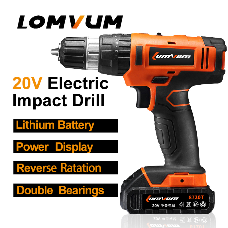 Фотография LOMVUM 20V Cordless Portable Impact Electric Drill Adjustable speed puncher Screwdriver MINI electric tool lithium battery
