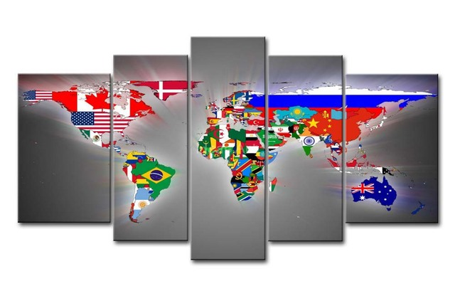 5 piece wall art painting world map flags print on canvas the 5 piece wall art painting world map flags print on canvas the picture city 4 3 gumiabroncs Images