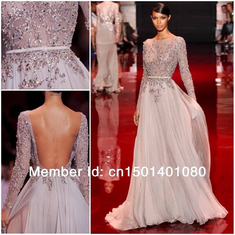 5f90acfe5078 Promotion 15% OFF -Elegant Flowing Chiffon Crystal Beaded Long Sleeves Sexy  Backless Evening Dress