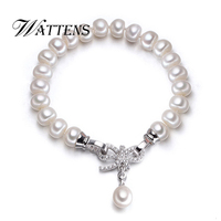 WATTENS New Accessories Charms Silver Bracelet Freshwater 8 9mm Natura Pearls Bracelets For Women Pearl Jewelry