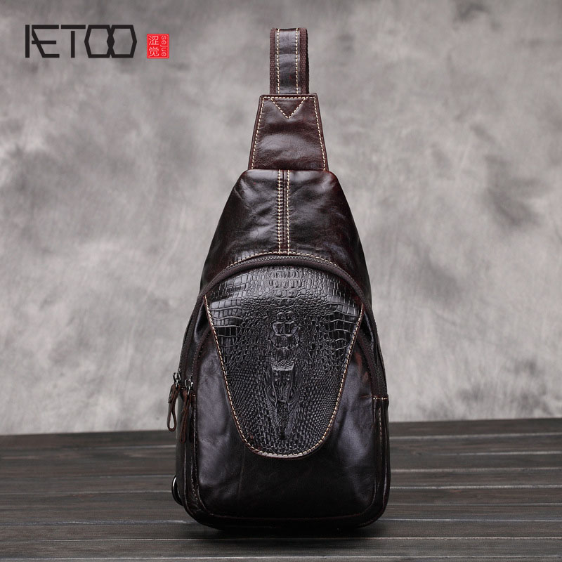 AETOO New men 's chest bag leather casual tide men' s chest bag Messenger oil wax cowhide men 's bags men s leather oblique cross chest packs of the first layer of leather deer pattern men s shoulder bag korean fashion men s bag