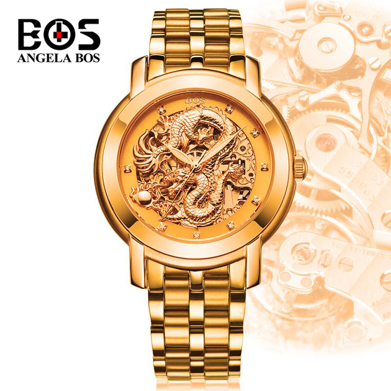 Relogio Masculino ANGELA BOS Gold Mechanical Watches Men Waterproof Luxury Luminous Automatic Wrist Watch Military Clock Saat angela bos gold black luminous skeleton watch men waterproof 3d hollow automatic mechanical wrist watch clock saat montre homme