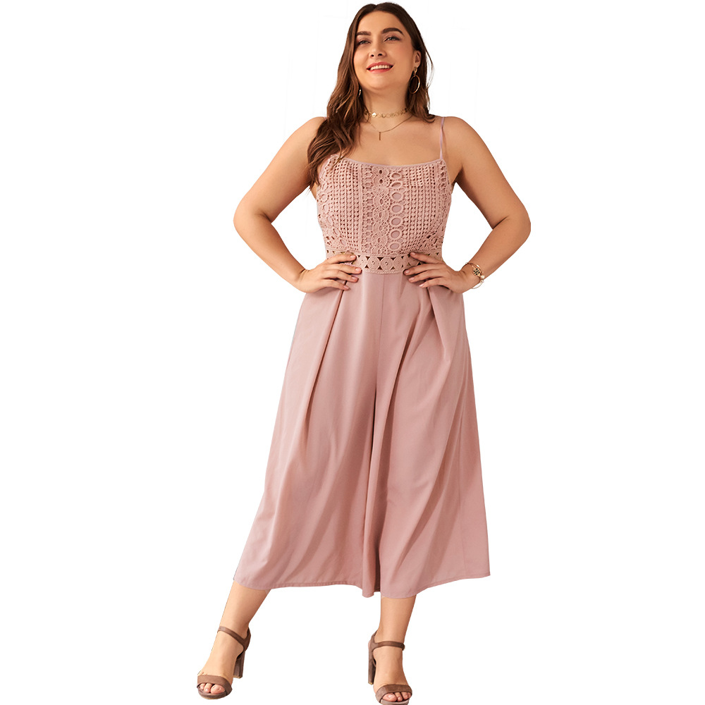 WHZHM Off Shoulder Plus Size 3XL 4XL Lace Backless Jumpsuits Women Sleeveless Beach Loose Pants Chiffon
