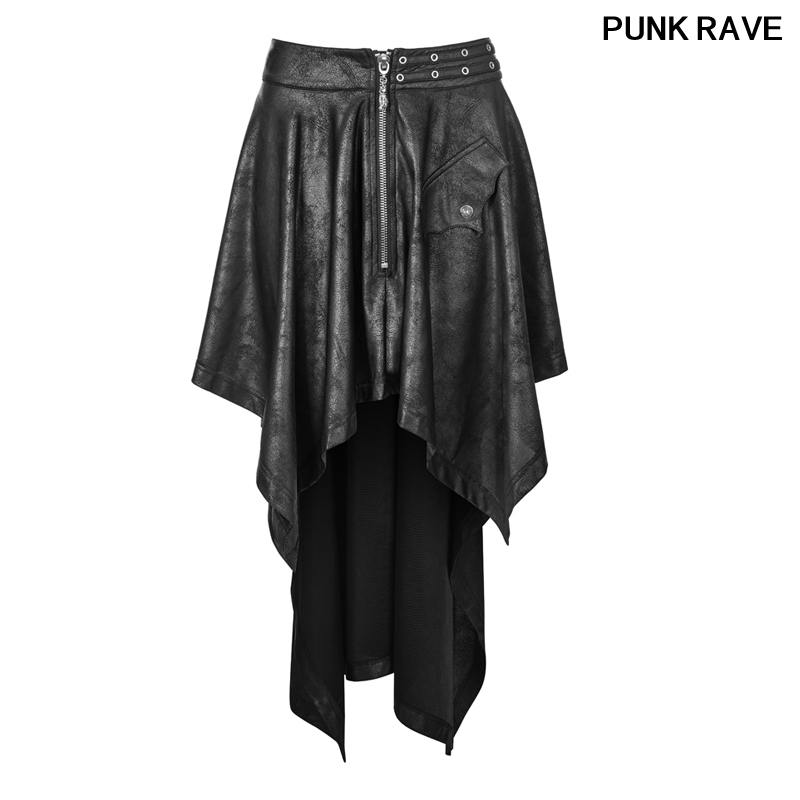 Gothic Harajuku High Waist Dovetail Skirts fashion Rock Vintage Asymmetrical Faux Leather Black Skirt PUNK RAVE WQ 351BQF