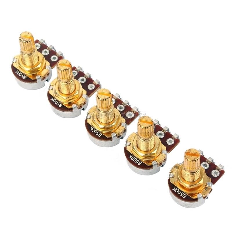 5Pcs B500k Ohm Audio Mini Pots Guitar Potentiometer For Electric Guitar Parts Dropship