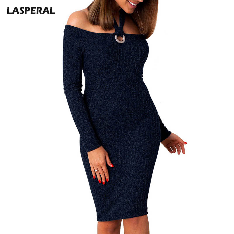 LASPERAL Sexy Off Shoulder Slash Neck Knitted Dress Women Long Sleeve Hollow Out Dresses Fashion Halter Solid Bodycon Vestidos