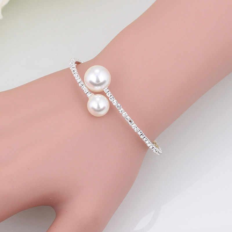 Bride Weeding Summer Rhineston Imitation Pearl Crystal Chain Circle Necklace Choker Bangle Jewelry Set Gift for Women Girl
