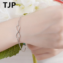 TJP Lovely Bow Tie Design Women Bracelets Jewelry Ture 925 Sterling Silver Female Girl Bangle Accessories moonmory sparkling bow bangle s925 sterling silver bow tie shaped bracelet with clear zircon for woman diy silver jewelry bangle