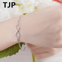 TJP Lovely Bow Tie Design Women Bracelets Jewelry Ture 925 Sterling Silver Female Girl Bangle Accessories