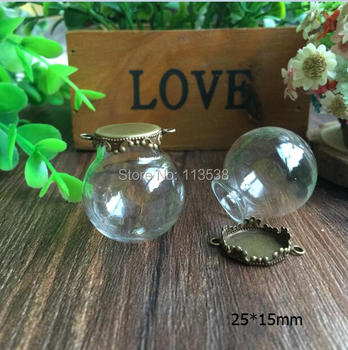 Free Shipping 100sets/lot 25*15mm (15mm opening) Glass globes with bronze color base set glass bottle DIY glass vials pendant