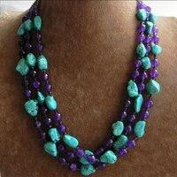 Зеленый Calaite граненый круглый фиолетовый кристалл подвески нефриты халцедон Камень Круглый бисер DIY Недавно ожерелье делая 17-18 дюймов BV359