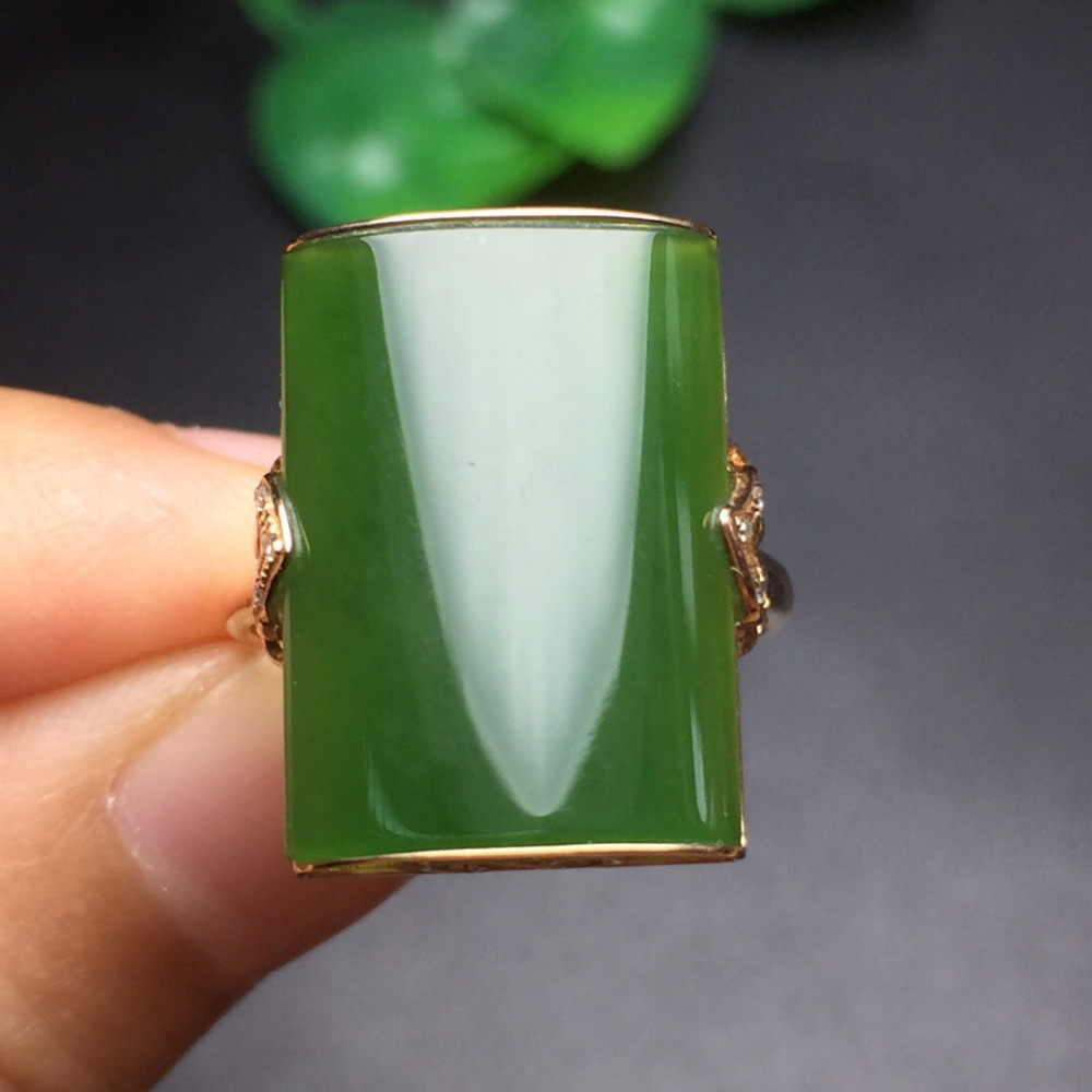 Fine Jewelry Real 18K Rose Gold AU750 100% Natural Green Jasper Gemstone male Rings Russia Origin Pedra for men Gift